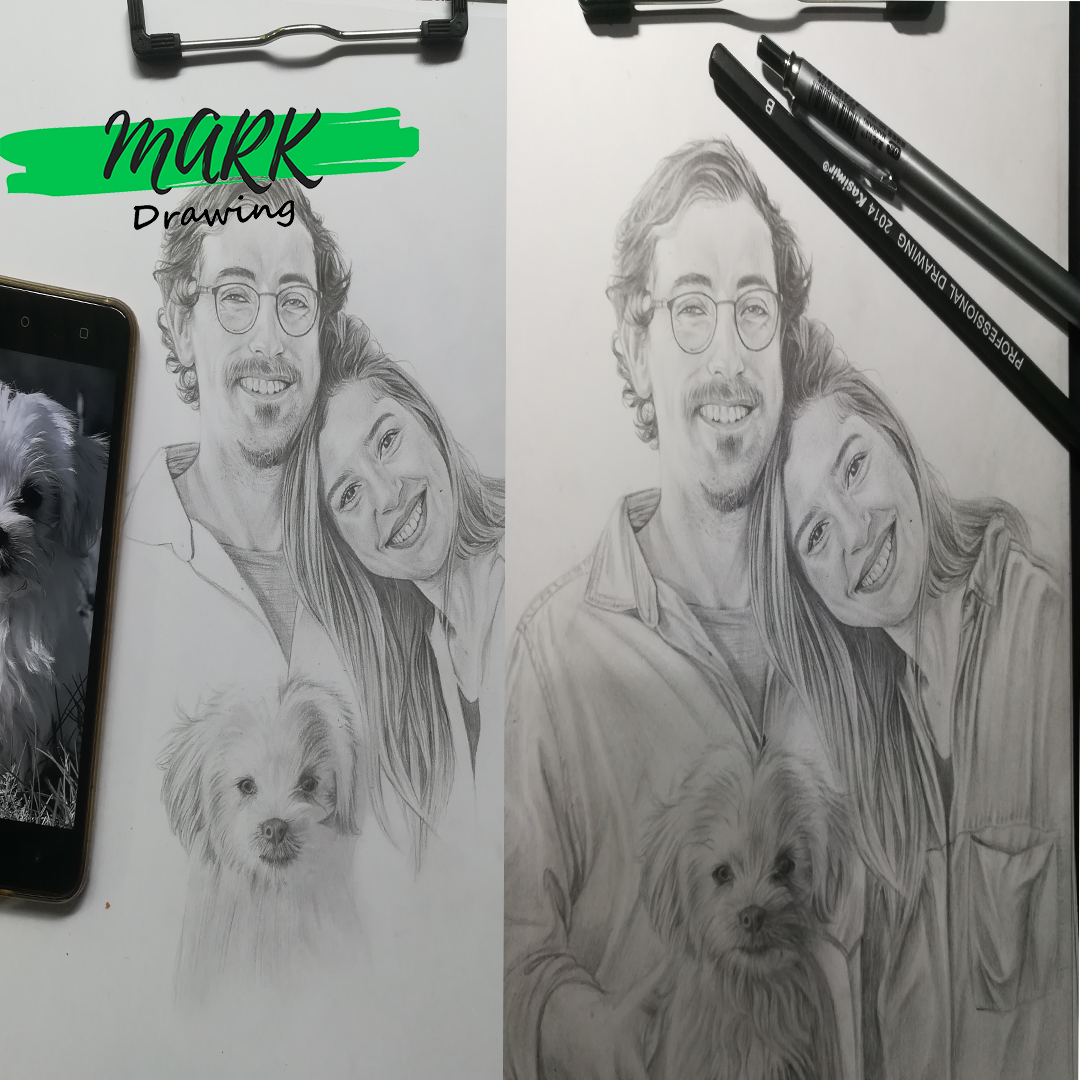 Hand Drawing Family Pencil Portraits